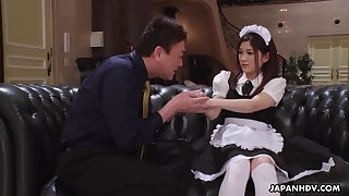 Cute Asian maid gets fucked by say no to improper married queen