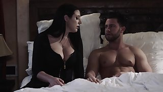 Fabulous big breasted wifey Angela White rubs clit while fucking friar