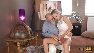 Old man wants to look at Shanie Ryan's pussy and that sexy girl is hardly shy