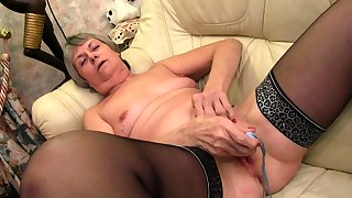 Chubby granny with the addition of old granny masturbating