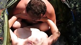Russian mature amateur couple in nature