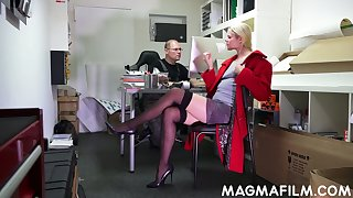Nerd dude thing embrace slutty blond colleague Claudia Bitch right in the office