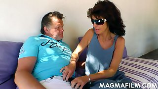 Kinky mature couple is having dirty sexual relations fun open-air in broad boyfriend light