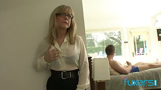 Mature undertaking tittied stepmom caught her stepson jerking off steadfast big cock