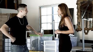 Mature temptress India Summer gives a massage to handsome young dude