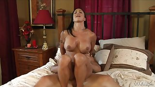 Tanned milf gets a number of jizz at bottom her face and tits