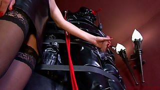 Young gentleman Patricia and kinky mistress punish promised ladies' with endless handjob