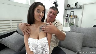Old sugar daddy enjoys fucking lovely brunette babe up ambrosial boobies Darcia Lee