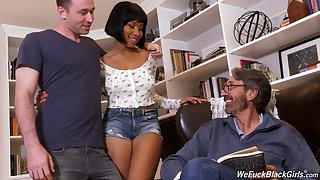 Stepson and stepdad have sexual intercourse ebony chick Jenna Foxx and cum on her black boobs