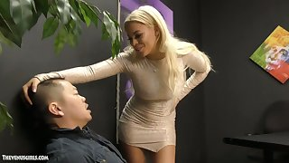Jaw come to nothing Cuban mistress Luna Star is jerking off and sucking small Asian dick