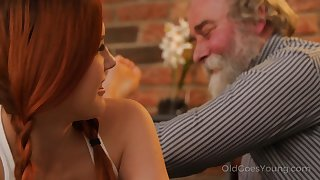 Talkative and impudent Czech nympho Charli Red lures older man for wild fuck