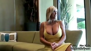 Gorgeous Flaxen-haired MILF With Huge Boobs Sucking Lucky Guys Learn of
