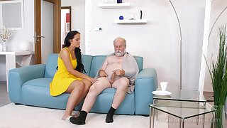 Young busty nurse Jennifer Mendez gives a blowjob with an increment of titjob to one old man
