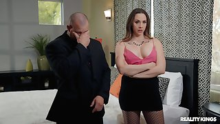 Of age pornstar Chanel Preston in the matter of fishnet stockings fucked