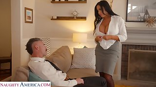 Whore wife with king size boobs Sybil Stallone is big Daddy on her economize with his boss