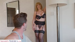 Stuffed mommy in all directions sexy underwear Sara Jay seduces young stepson