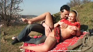 Alfresco fucking less the local field with chubby tow-headed Sandra R