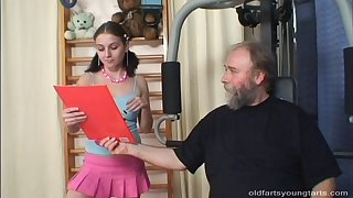 Old perv works out before noticing cock hungry coddle Christina H