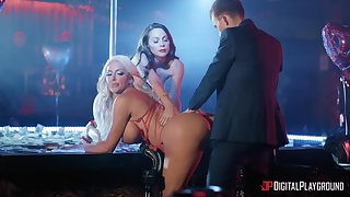 Erotic dancers Abigail Mac and Nicolette Shea fucked by one lucky chap