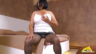 Old daughter exhibitionism her sexy pantyhose increased by playing with her jugs